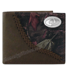 Load image into Gallery viewer, Mossy Oak Logo Fence Row Camo Genuine Leather Bifold Wallet