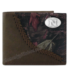 Load image into Gallery viewer, Nebraska Cornhuskers  Fence Row Camo Genuine Leather Bifold Wallet