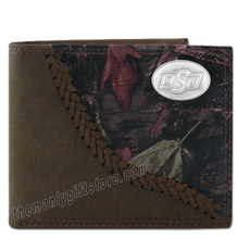 Load image into Gallery viewer, OSU Oklahoma State Fence Row Camo Genuine Leather Bifold Wallet