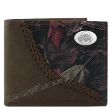 Load image into Gallery viewer, Ohio State Buckeyes Fence Row Camo Genuine Leather Bifold Wallet