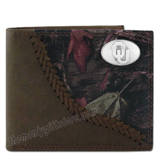 Oklahoma Sooners Fence Row Camo Genuine Leather Bifold Wallet