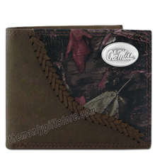 Load image into Gallery viewer, Ole Miss Rebels Fence Row Camo Genuine Leather Bifold Wallet