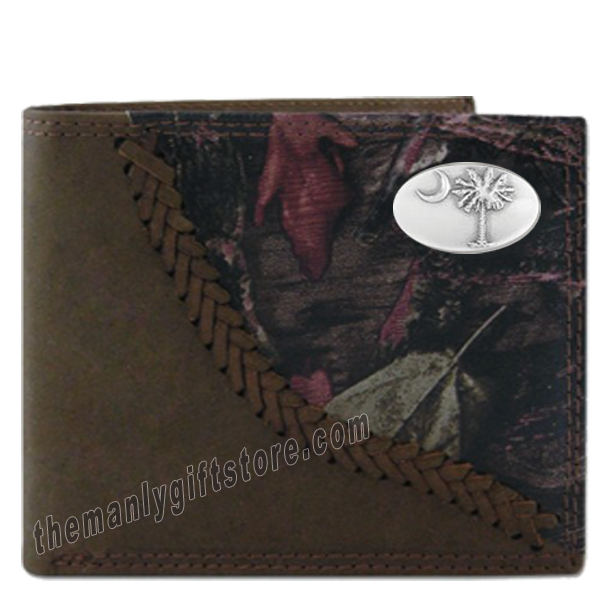 South Carolina Palmetto Tree Fence Row Camo Leather Bifold Wallet