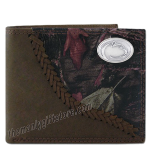 Penn State Nittany Lion Fence Row Camo Genuine Leather Bifold Wallet