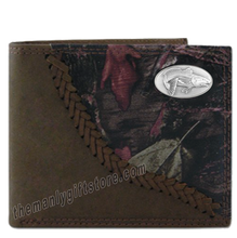 Load image into Gallery viewer, Saltwater Redfish Fence Row Camo Genuine Leather Bifold Wallet