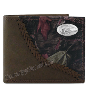 Saltwater Redfish Fence Row Camo Genuine Leather Bifold Wallet
