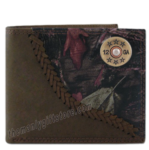 Shotgun Shell Fence Row Camo Genuine Leather Bifold Wallet