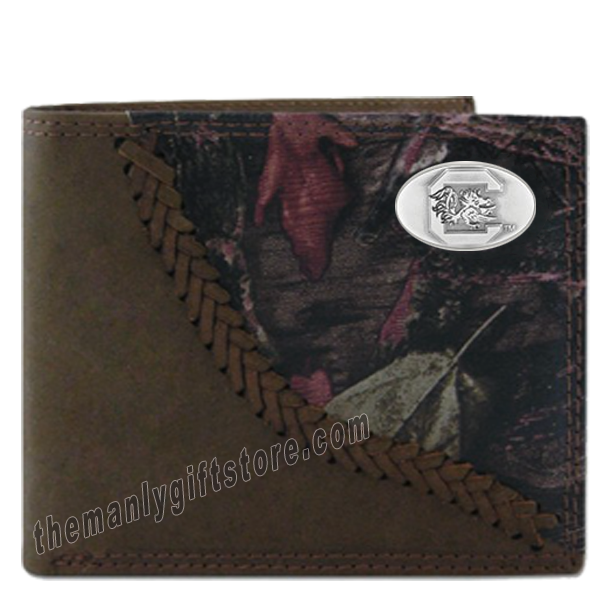 South Carolina Gamecocks Fence Row Camo Leather Bifold Wallet