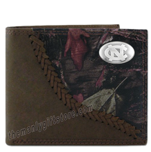 Load image into Gallery viewer, UNC North Carolina Tar Heels Fence Row Camo Genuine Leather Bifold Wallet