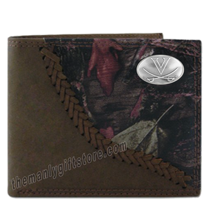 Virginia Cavaliers Fence Row Camo Genuine Leather Bifold Wallet