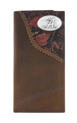 Alabama Crimson Tide Fence Row Camo Leather Roper Wallet