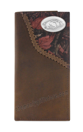 Arkansas Razorbacks Fence Row Camo Leather Roper Wallet