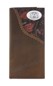 Auburn Tigers Fence Row Camo Genuine Leather Roper Wallet