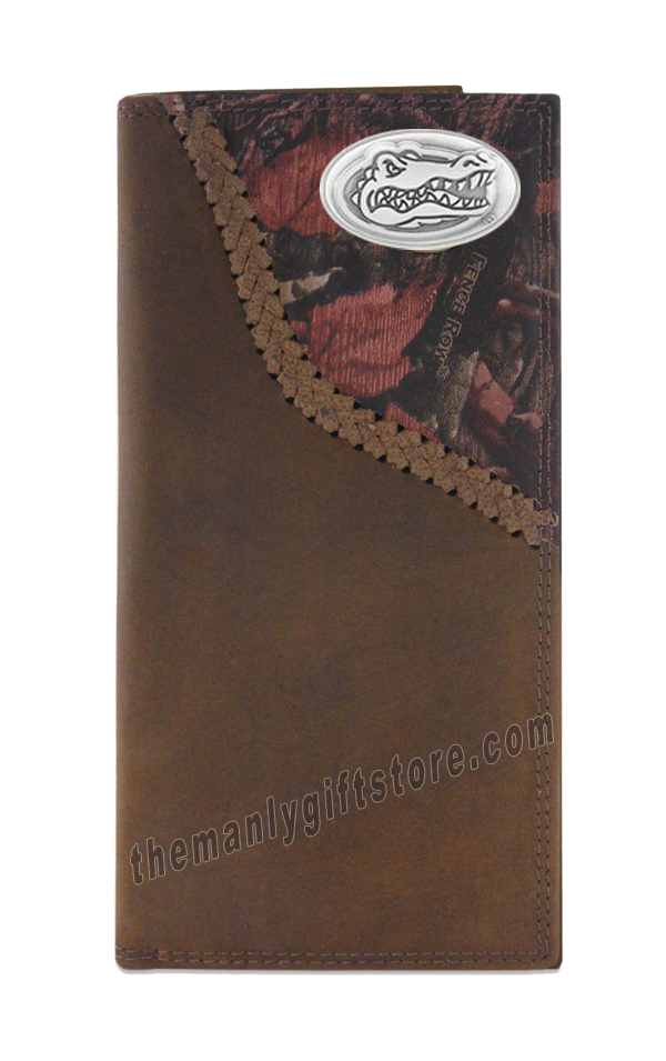 Florida Gators Fence Row Camo Genuine Leather Roper Wallet