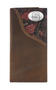 North Carolina State Fence Row Camo Genuine Leather Roper Wallet