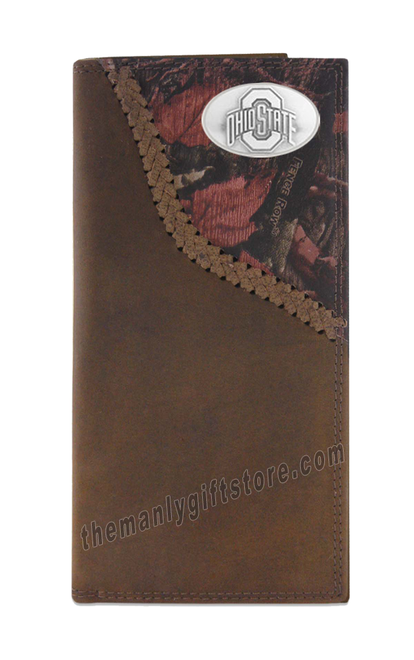 Ohio State Buckeyes Fence Row Camo Genuine Leather Roper Wallet