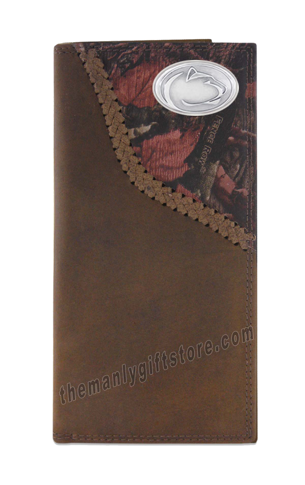 Penn State Nittany Lion Fence Row Camo Genuine Leather Roper Wallet