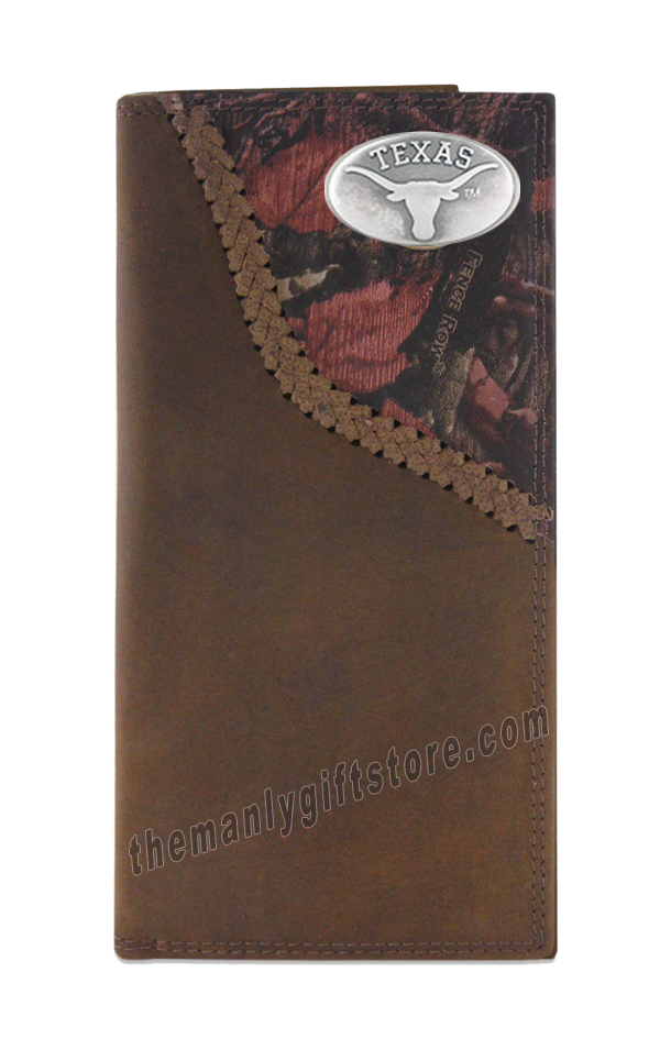 Texas Longhorns Fence Row Camo Genuine Leather Roper Wallet