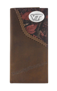 Virginia Tech Hokies Fence Row Camo Genuine Leather Roper Wallet