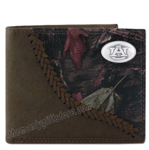 Auburn Tigers Fence Row Camo Genuine Leather Bifold Wallet