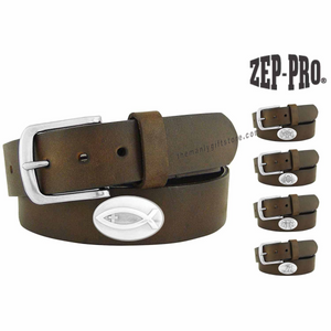 Christian Fish Zep-Pro Leather Concho Belt