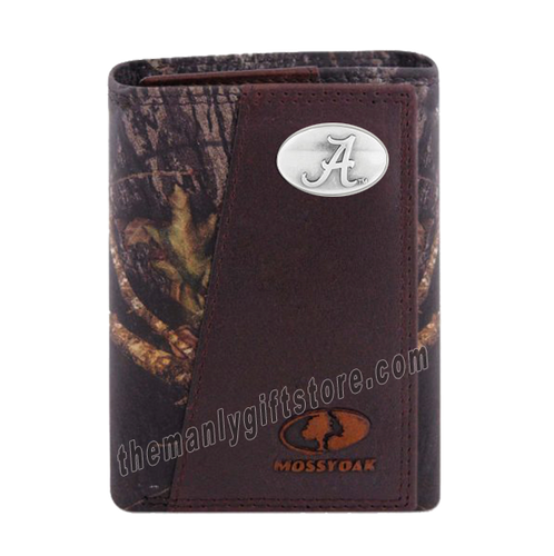 Alabama Crimson Tide Mossy Oak Camo Zep Pro Trifold Leather Wallet