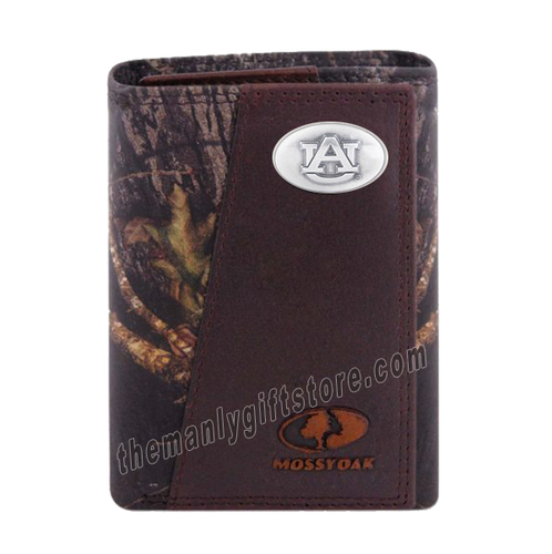 Auburn Tigers Mossy Oak Camo Zep Pro Trifold Leather Wallet