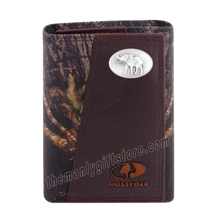 Load image into Gallery viewer, Elephant Mascot Alabama Mossy Oak Camo Zep Pro Trifold Leather Wallet