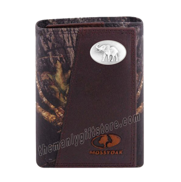Elephant Mascot Alabama Mossy Oak Camo Zep Pro Trifold Leather Wallet