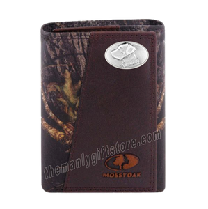 Labrador DOG Mossy Oak Camo Zep Pro Trifold Leather Wallet