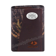Load image into Gallery viewer, Mississippi State Bulldogs Mossy Oak Camo Zep Pro Trifold Leather Wallet