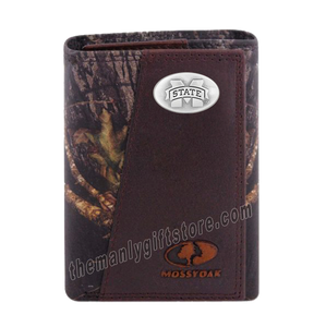 Mississippi State Bulldogs Mossy Oak Camo Zep Pro Trifold Leather Wallet