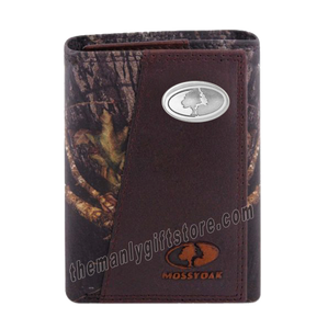 Mossy Oak Logo Mossy Oak Camo Zep Pro Trifold Leather Wallet