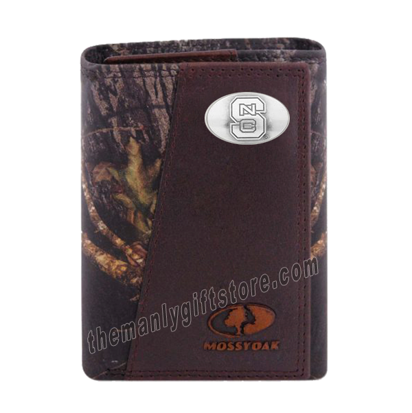 North Carolina State NCS Mossy Oak Camo Zep Pro Trifold Leather Wallet