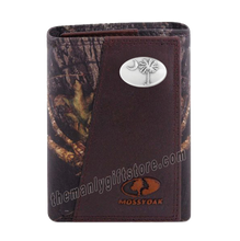 Load image into Gallery viewer, South Carolina Palmetto Tree Mossy Oak Camo Zep Pro Trifold Leather Wallet