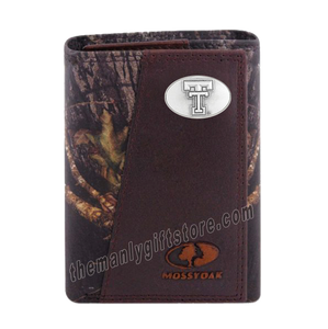 Texas Tech Red Raiders Mossy Oak Camo Zep Pro Trifold Leather Wallet