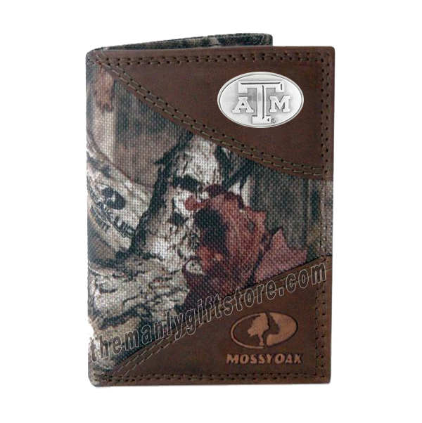 Texas A&M Aggies Mossy Oak Camo Trifold Nylon Wallet