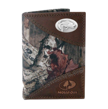 Load image into Gallery viewer, Largemouth Bass Mossy Oak Camo Trifold Wallet