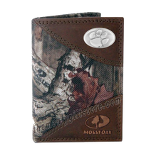 Load image into Gallery viewer, Clemson Tigers Mossy Oak Camo Trifold Wallet