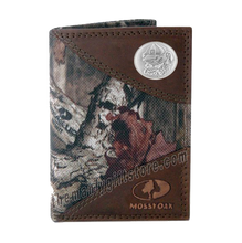 Load image into Gallery viewer, Georgia Bulldogs Mascot Mossy Oak Camo Trifold Wallet