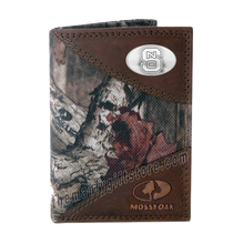 Load image into Gallery viewer, North Carolina State Mossy Oak Camo Trifold Wallet
