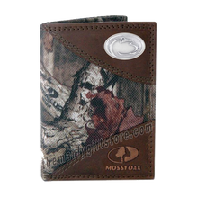 Load image into Gallery viewer, Penn State Nittany Lion Mossy Oak Camo Trifold Nylon Wallet