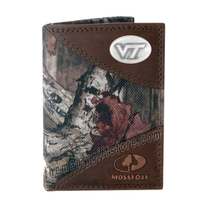 Virginia Tech Hokies Mossy Oak Camo Trifold Nylon Wallet