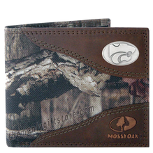 Load image into Gallery viewer, Kansas State Mossy Oak Camo Bifold Wallet