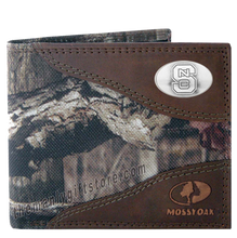 Load image into Gallery viewer, North Carolina State Mossy Oak Camo Bifold Wallet