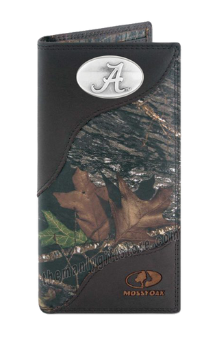 Alabama Crimson Tide Mossy Oak Camo Zep Pro Leather Roper Wallet