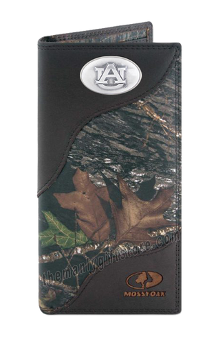 Auburn Tigers Mossy Oak Camo Zep Pro Leather Roper Wallet