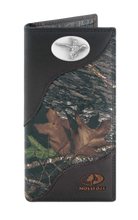 Load image into Gallery viewer, Flying Duck Mossy Oak Camo Zep Pro Leather Roper Wallet