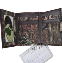 Load image into Gallery viewer, Ichthys Christian Fish Mossy Oak Camo Trifold Wallet