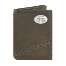 Load image into Gallery viewer, Texas A&M Aggies Crazy Horse Genuine Leather Trifold Wallet